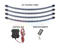 Orange Flexible LED Wheel Well Lights Tubes, Control Box & Wireless Remote