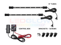 """2pc 9"""" 7 Color Interior SMD LED Tubes, Control Box & Mounting Brackets and Screws"""