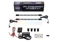 2pc Expandable 7 Color Interior Lighting Kit Package and Included Parts