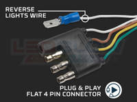 Flat 4 Pin Connector with Reverse Light Wire