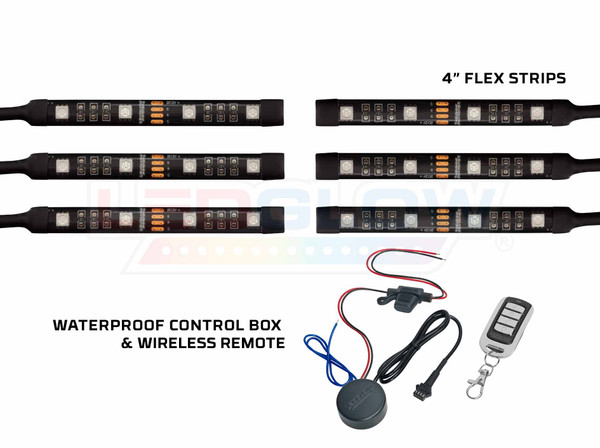 Advanced Million Color SMD LED Mini Motorcycle Flexible Strips, Waterproof Control Box, & Wireless Remote