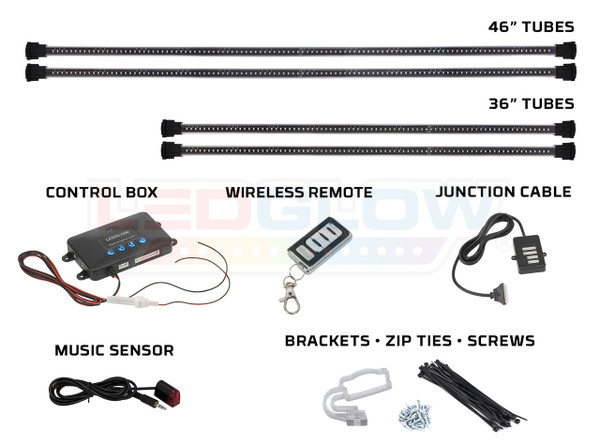 4pc Million Color Wireless SMD Underbody Lighting Tubes, Control Box, Wireless Remote, Junction Cable, Music Sensor & Installation Accessories