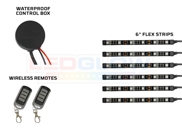 Advanced Red Motorcycle SMD LED Flexible Strips, Waterproof Control Box, & Wireless Remotes
