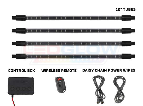 Red Expandable SMD LED Interior Tubes, Control Box, Wireless Remote, & Daisy Chain Power Wires