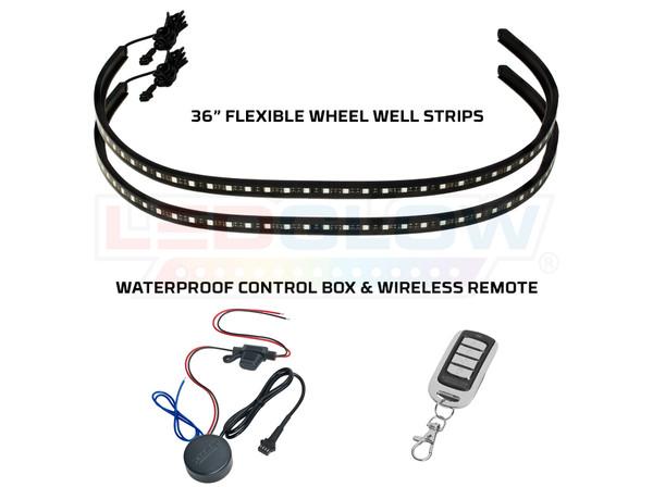 2pc LiteTrike Million Color Flexible Wheel Well Strips, Control Box, & Wireless Remote