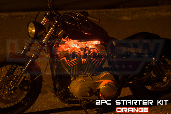 2pc Classic Orange Motorcycle Lighting Kit