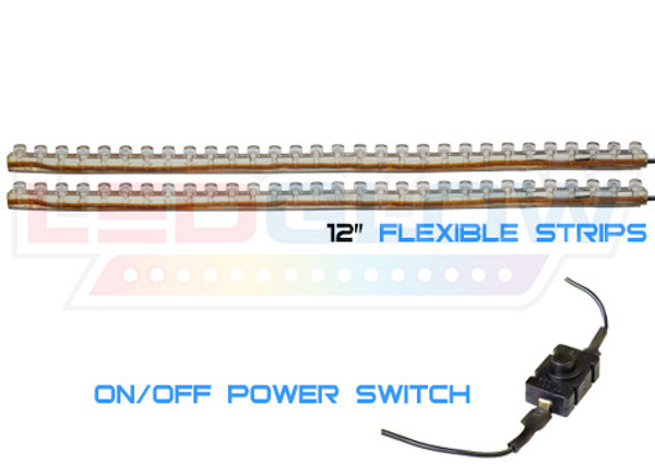 "12"" Flexible Classic Motorcycle Strips & Power Switch"