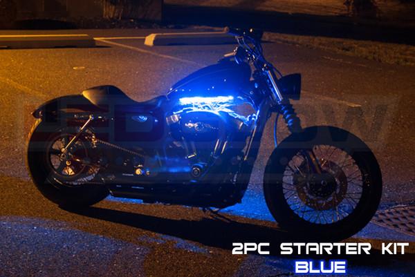 2pc Classic Blue Motorcycle Lighting Kit