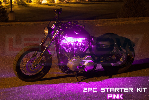 2pc Classic Pink Motorcycle Lighting Kit