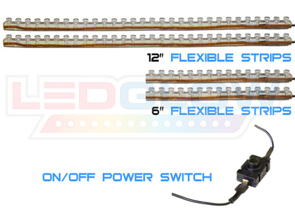 4pc Classic Single Color Motorcycle Strips & Power Switch