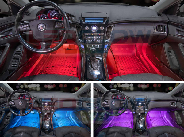 4pc 7 Color LED Car Interior Lights - Red, Blue, Purple