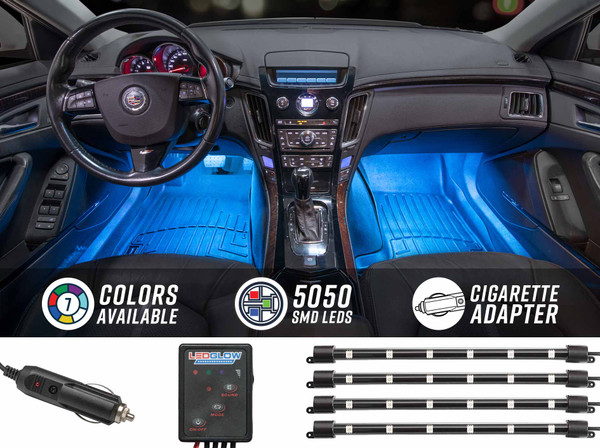 4pc 7 Color LED Car Interior Lights