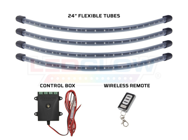 """Red LED Wheel Well Kit with (4) 24"""" Flexible Tubes, Control Box & Wireless Remote"""