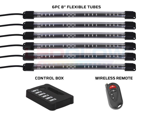"8"" Flexible Million Color Interior Tubes, Control Box & Wireless Remote"