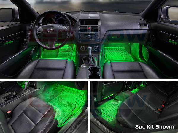 8pc Flexible LED Million Color Interior Lights Installed - Green