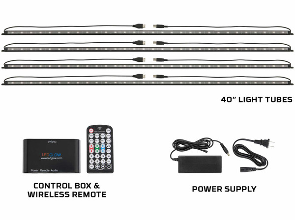 """Million Color 40"""" LED Lighting Tubes, Control Box & Wireless Remote"""