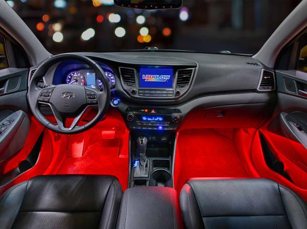 4pc Red LED Car Interior Lights