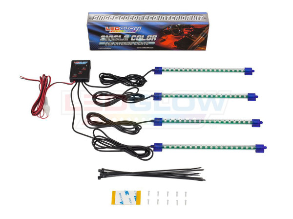 4pc Green LED Car Interior Lighting Kit Unboxed