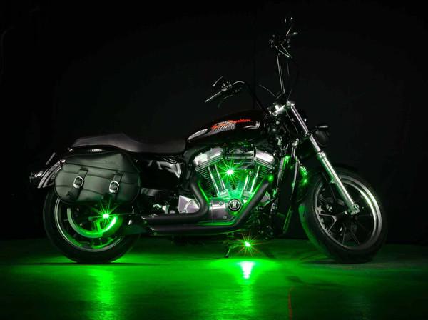Green LED Pod Lights on Motorcycle