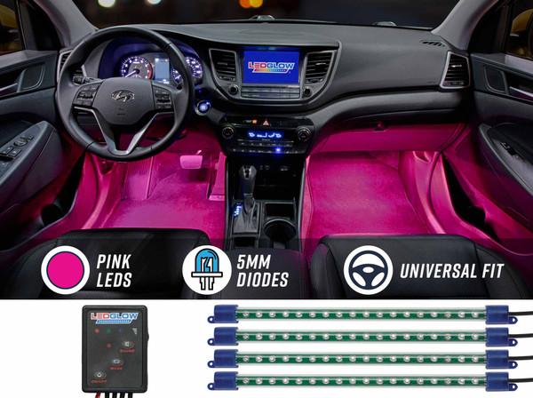 4pc Pink LED Car Interior Lights