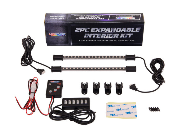 2pc Expandable Purple Interior Lighting Kit Package and Included Parts