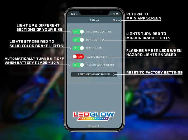 LEDGlow Motorcycle Control App Settings