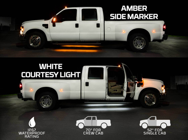 Amber LED Side Marker Running Lights with White Courtesy Lights