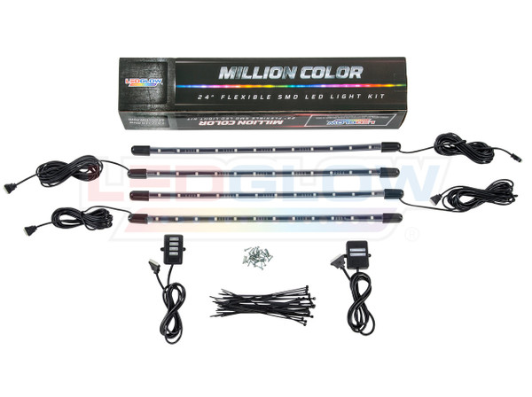 LEDGlow 4pc Million Color Flexible LED Wheel Well Lighting Add-On Kit Unboxed
