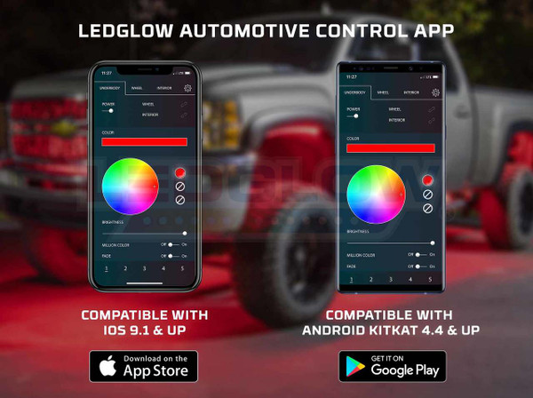 LEDGlow Automotive Control App Compatibility with iOS 9.1 & Up and Android KitKat 4.4 & Up