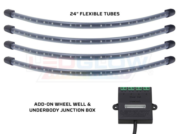 4pc Blue Flexible LED Wheel Well Lighting Add-On Kit
