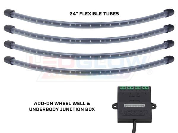 4pc Green Flexible LED Wheel Well Lighting Add-On Kit