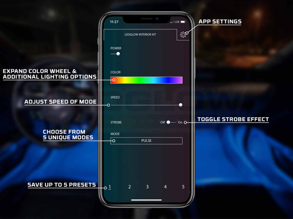 LEDGlow Automotive Control App Features & Settings