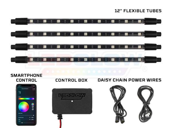 """4pc Million Color SMD LED Interior Light Kit with Smartphone Control, Bluetooth Control Box & 12"""" Tubes"""