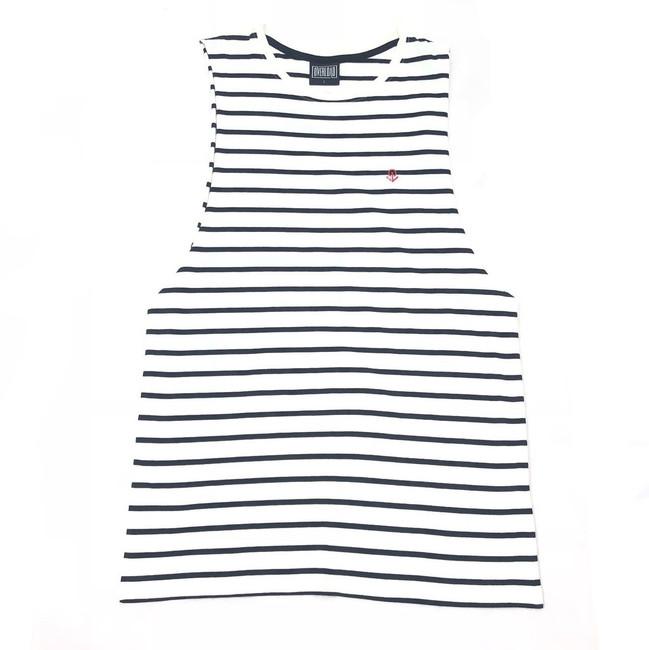 Overload - Tank Top - Anchor Stripe - Navy/White