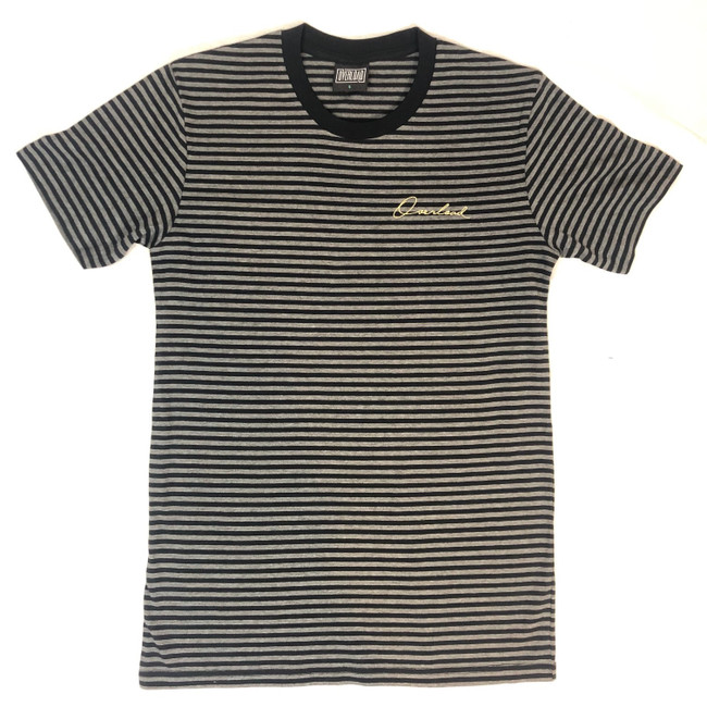 Overload - T-Shirt - Script Emb Striped - Charcoal/Blk