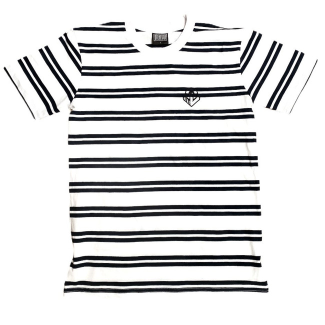 Overload - Anchor Embroidered  Stripe Tee - White/Navy