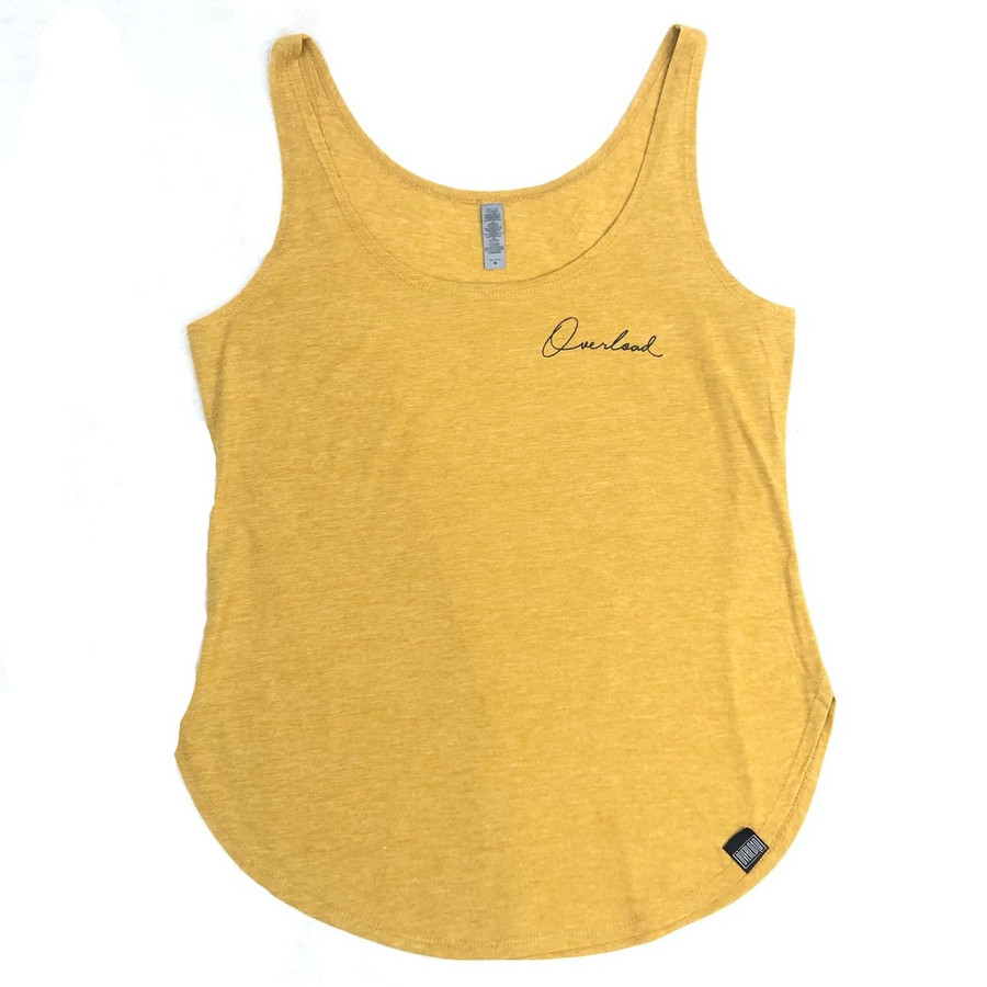 Overload - Womens - Tank Top - Script - Antique Gold