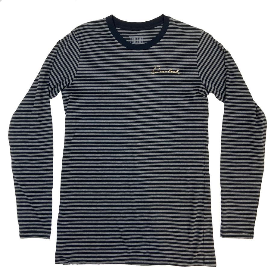 Overload - T-Shirt - Script Striped Long Sleeve - Charcoal Black
