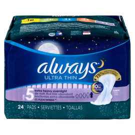 Always Ultra Thin avec Flexi-Wings Serviettes de Nuit, Flux Très Abondant Size 5 24 Serviettes