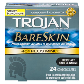Trojan Bareskin Condoms Latex Format Économique! 24 Condoms Latex