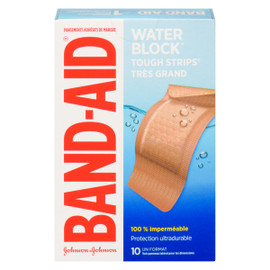 Band-Aid Water Block Tough Strips Pansements Adhésifs de Marque Très Grand 10 Un Format