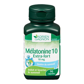 Adrien Gagnon Mélatonine 10 Extra-Fort 10 mg Gestion du Sommeil 90 Capsules