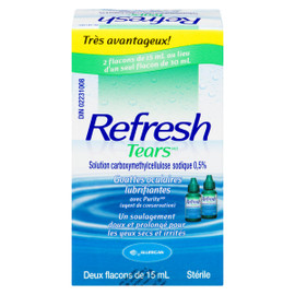 Refresh Tears Gouttes Oculaires Lubrifiantes 2 x 15 mL