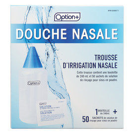 Option+ Rinçage Nasal 1 1 240 mL bottle + 50 packets of sinuse rinse powder for solution