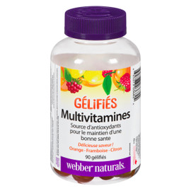 Webber Naturals Gélifiés Multivitamines Orange, Framboise, Citron 90 Gélifiés