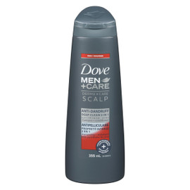 Dove Men+Care Derma+Care Scalp Shampooing + Revitalisant avec Pyrithione de Zinc Antipelliculaire Propreté Intense 2 en 1 355 ml