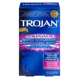 Trojan Double Pleasure Sensations Nues 10 Condoms Latex
