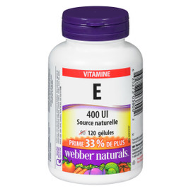 Webber Naturals Vitamine E 400 UI Source Naturelle 120 Gélules