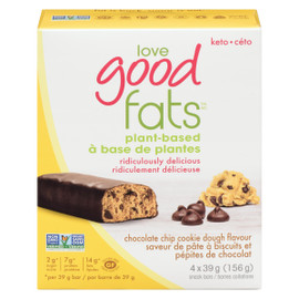 Love Good Fats Saveur de Pâte à Biscuits et Pépites de Chocolat 4 Barres Collations x 39 g (156 g)