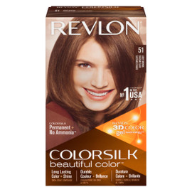 Revlon ColorSilk Beautiful Color 3D Color Gel Technology Permanent + No Ammonia 51 Châtain Clair